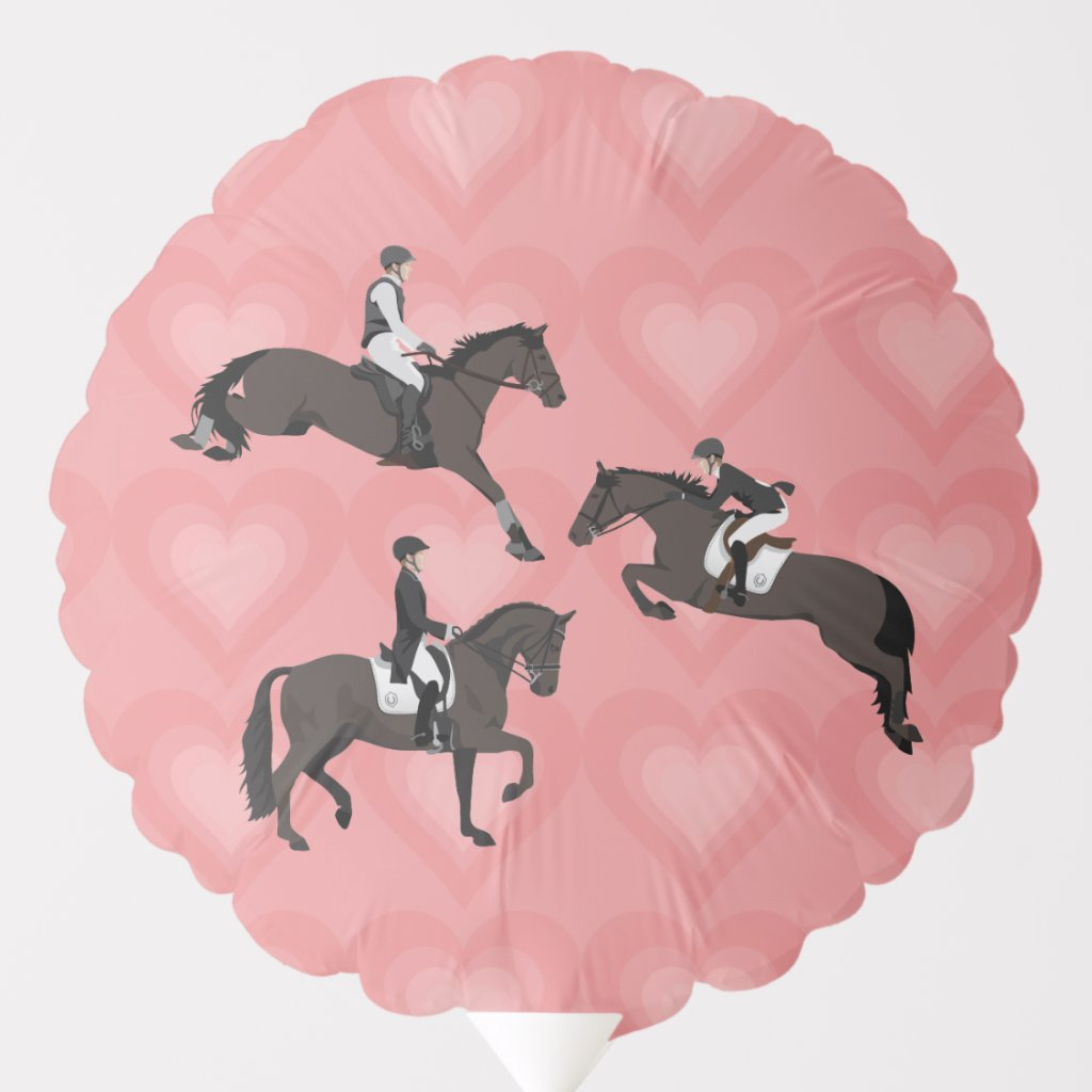 Eventing Horses & Hearts Equestrian Theme Balloon