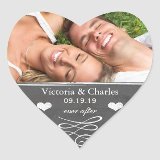 Ever After Chalkboard Wedding Save the Date Seal Heart Stickers