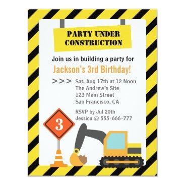 Excavator Construction Theme kids Birthday Party Invitation