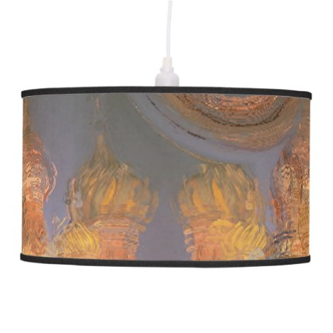 Expansion, Abstract Golden Shimmering City Dream Hanging Lamp