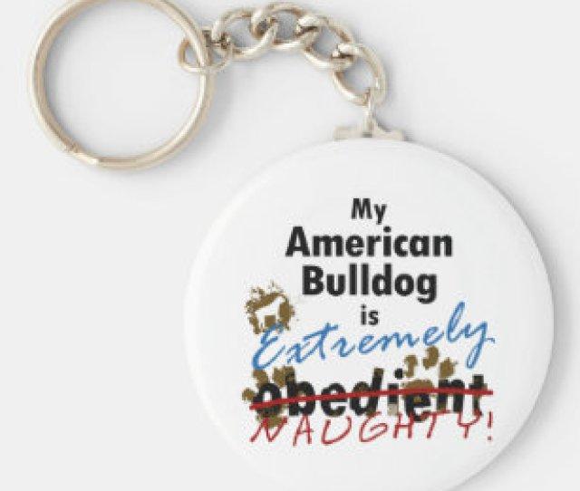 Extremely Naughty American Bulldog Keychain
