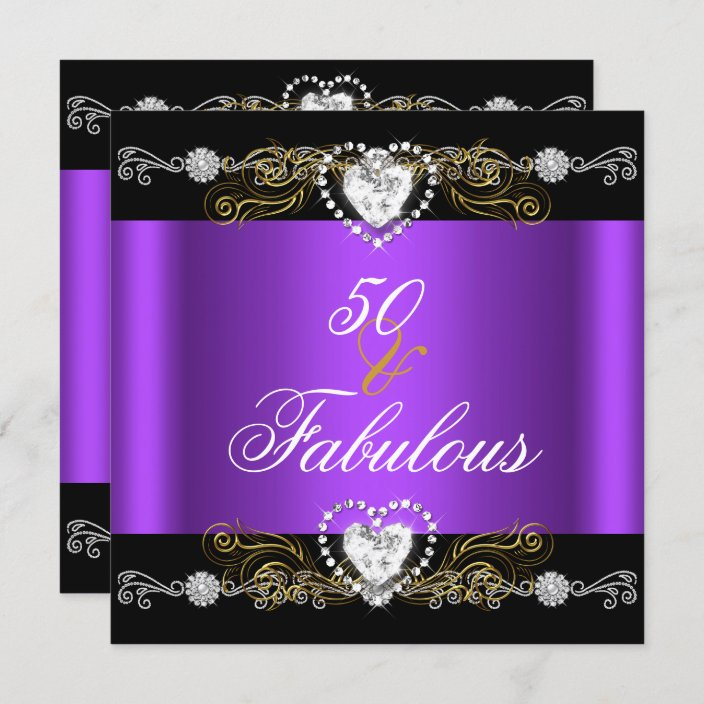fabulous 50 purple black silver gold 50th birthday invitation zazzle com