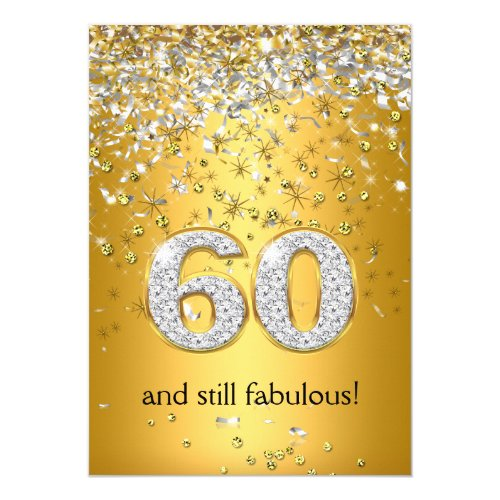 Fabulous 60 Gold Silver Streamers 60th Birthday Card