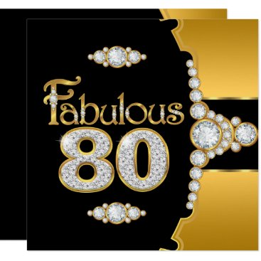 Fabulous 80 80th Birthday Gold Black Diamond Card