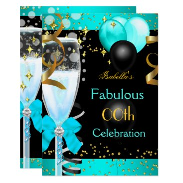 Fabulous Teal Blue Champagne Gold Birthday Party Card
