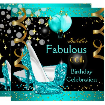 Fabulous Teal Blue High Heels Gold Birthday Party Invitation