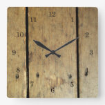 Faded Wood Planks Square Wall Clock