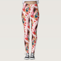 FAIRIE AND BEAR VALENTINE CARTOON Leggings