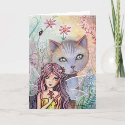 Fairy and Cat Greeting Card by Molly Harrison