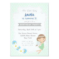 Fairy Girls Birthday Invitation Mint Green