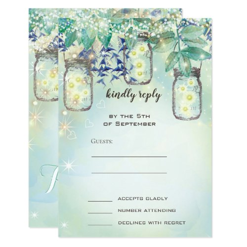 Fairy Tale Forest Blue Green Mason Jar Wedding Invitation
