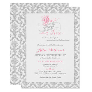 Pink And Purple Fairy Tale Once Upon A Time Ornate Frame Wedding Invitation Front