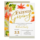 Fall autumn leaves Thanksgiving friends giving Invitation