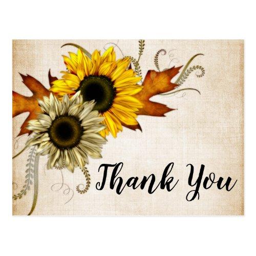 Fall Bridal Shower - Green & Golden Thank You Postcard