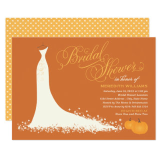Fall Bridal Shower Wedding Gown With Pumpkins Card