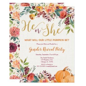 Fall floral pumpkin gender reveal invitation