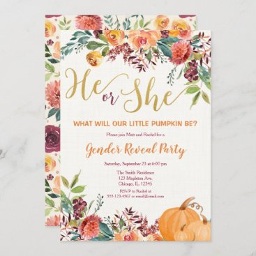 Fall floral pumpkin gender reveal invitation