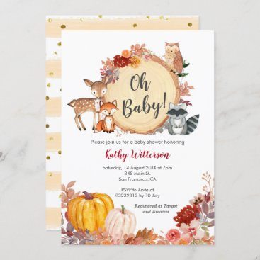 Fall Floral Woodland Baby Shower Invitation