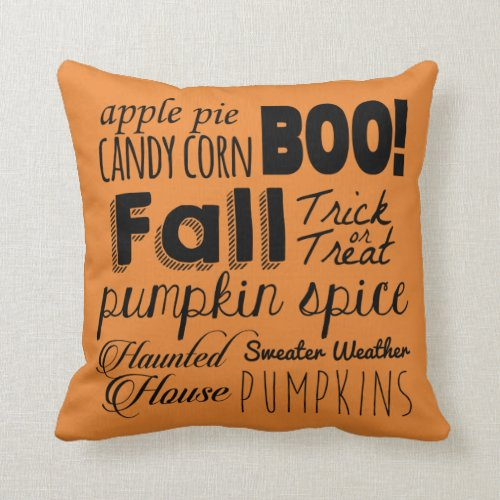 Fall Halloween Square Throw Pillow