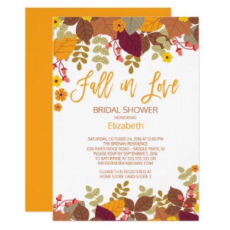 Fall In Lov Autumn Leaves Bridal Shower Invitation