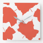 Fall Leaves Autumn Colors Orange Leaf Pattern Cool Square Wall Clock