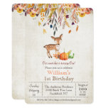 Fall Pumpkin and Deer 1st Birthday Invitation