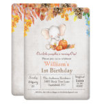 ❤️ Fall Pumpkin and Elephant 1st Birthday Invitation