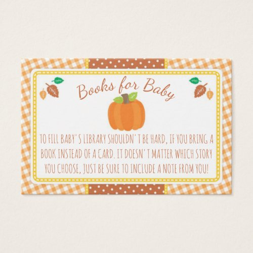 Fall Pumpkin Baby Shower Book Request Card