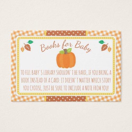 Fall Pumpkin Baby Shower Book Request Card