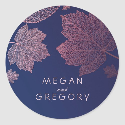 Fall Rose Gold and Navy Blue Leaves Wedding Classic Round Sticker