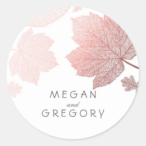 Fall Rose Gold Leaves Elegant Wedding Classic Round Sticker
