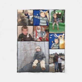 Family Photo Collage 8 Photos Fleece Blanket