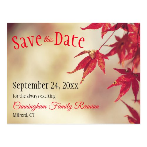 Family Reunion Save The Date Fall Red Leaves Bokeh Postcard