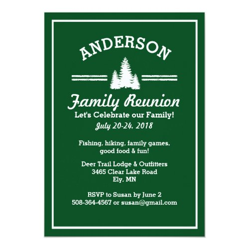 Family Reunion Trip | Rustic Pine Trees Lake House Card