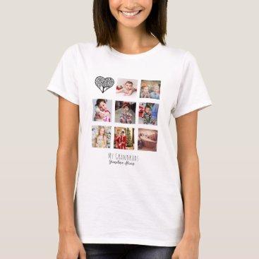 Family Tree Photo Collage Grandma Grandmother Gift T-Shirt