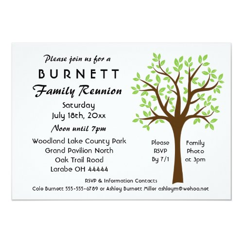 Family Tree Reunion Invitation by Genealogy Greetings