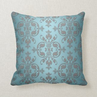 Fancy Teal Blue and Grey Damask