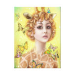 Fantasy portrait woman giraffe canvas print