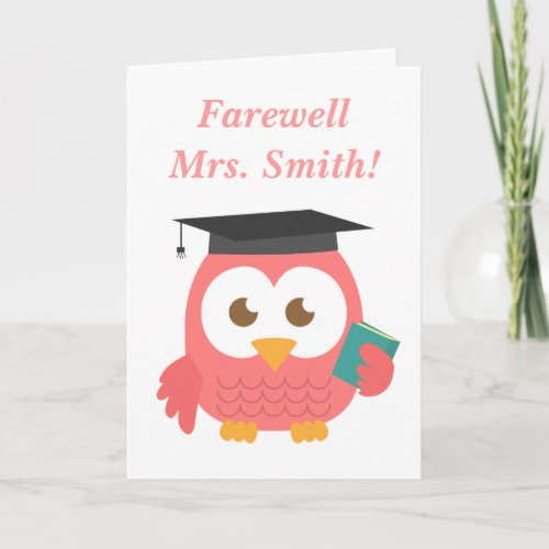 Farewell to Teacher, Cute Teacher Owl Card