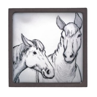Farm Horses in Charcoal, Black & White Drawing Premium Gift Box