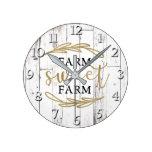 Farm Sweet Farm White Wood Country Farmhouse Round Clock