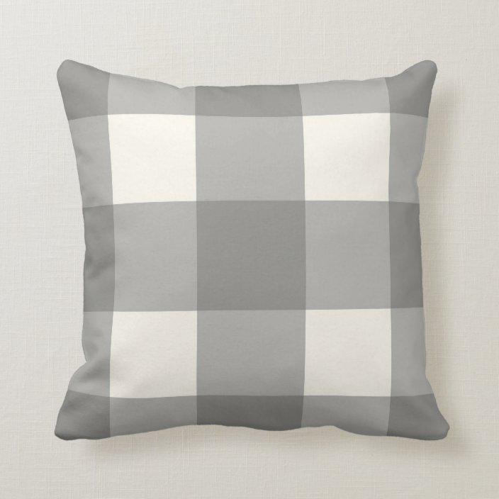 farmhouse gray cream plaid pillow zazzle com
