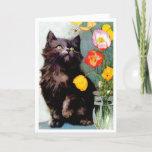 Vintage Black Cat & Poppies Greeting Card