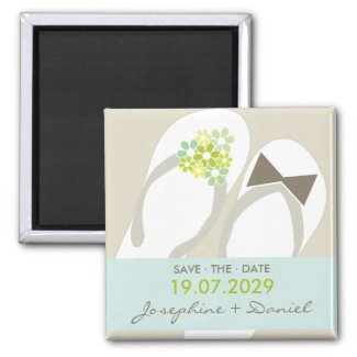 fatfatin Beach Green Flip Flops Save The Date Magnet