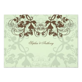 fatfatin Floral Flourish Coffee Wedding Invitation