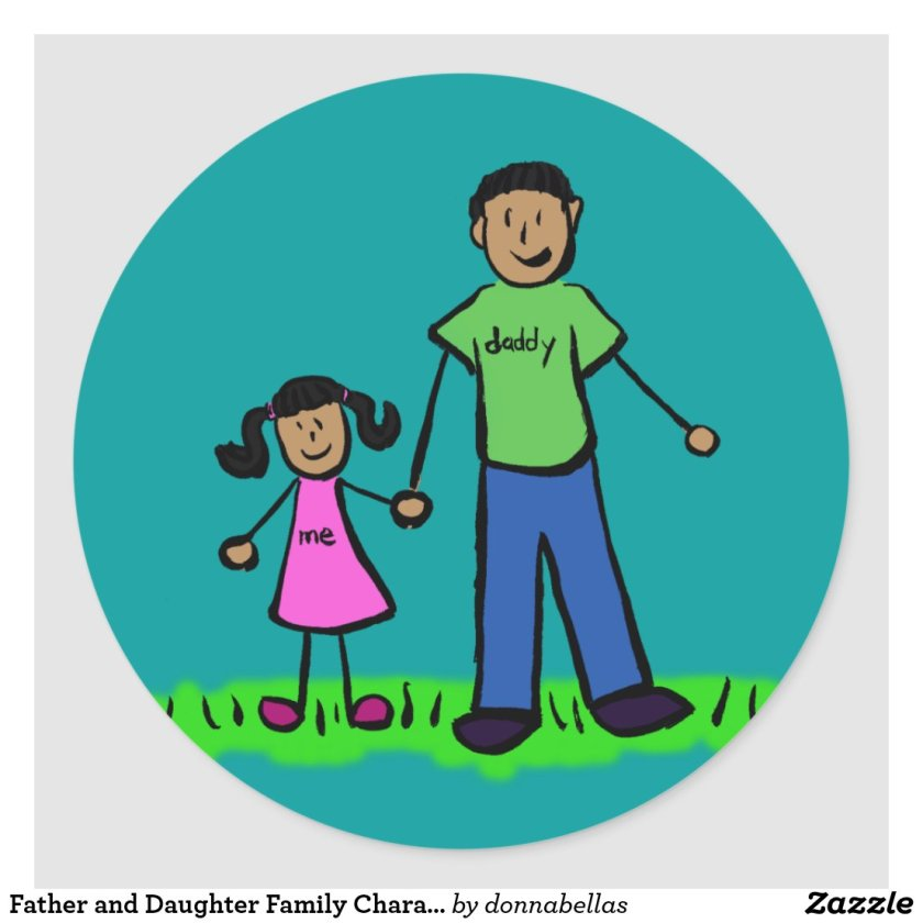 Father and Daughter Family Characters Art Stickers