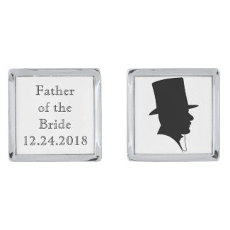 Father of the Bride Silver Finish Cufflinks