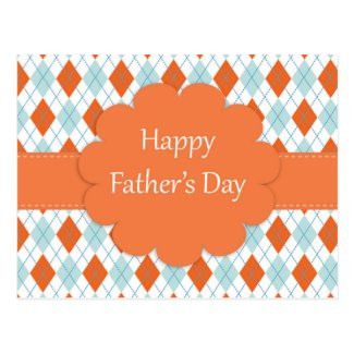 Father's Day Argyle Pattern Post Card