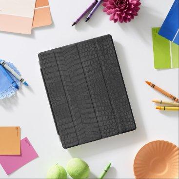 Faux Black Crocodile Leather Print iPad Smart Cover