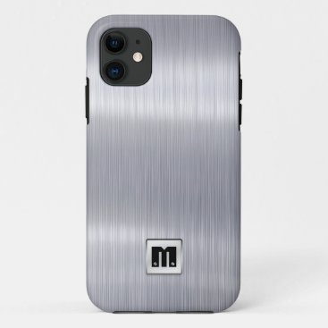 Faux Brushed Aluminum with custom monogram iPhone 11 Case